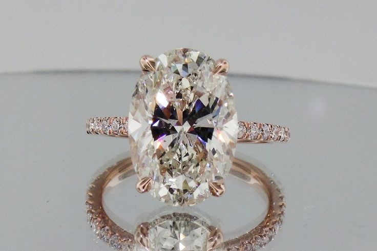 2.72ctw Oval center , Micro pave Rose Gold ( blake lively engagement ring ) in Jewelry & Watches,Engagement & Wedding,Engagement Rings | eBay