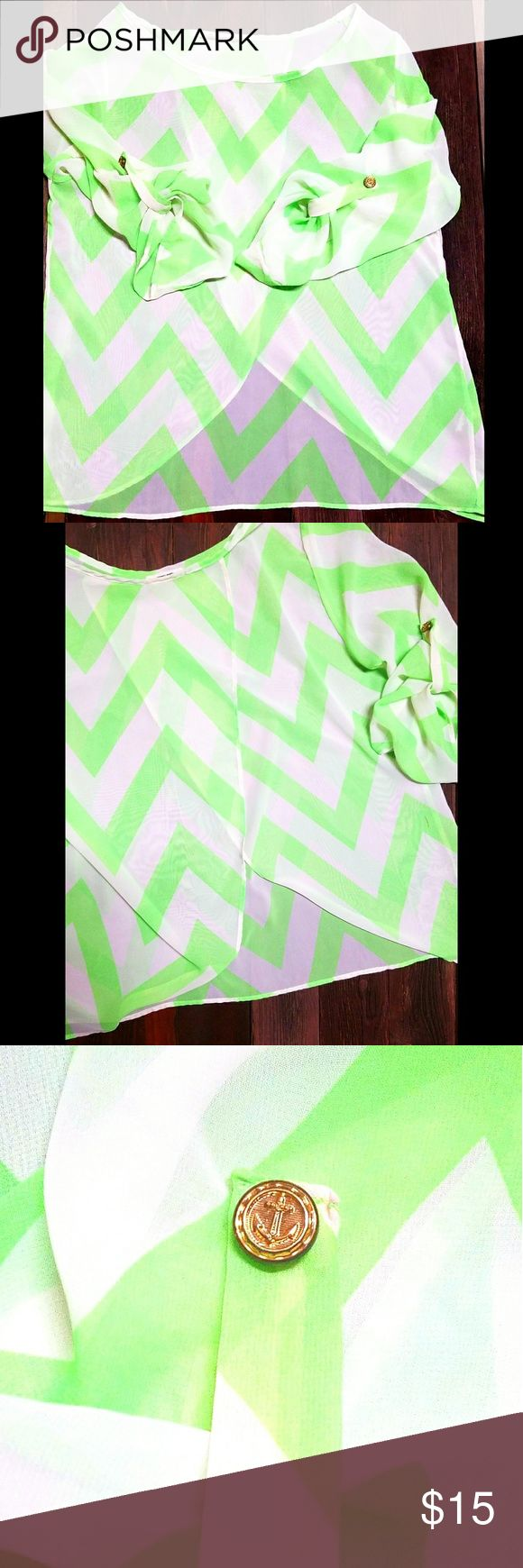Rachel Kate Lime Green and White Chevron Top Rachel Kate Lime Green and White Sheer Chevron Top. Like new! Super cute top with gold anchor buttons on sleeves. And Criss cross like opening in back. Rachel Kate Tops Blouses