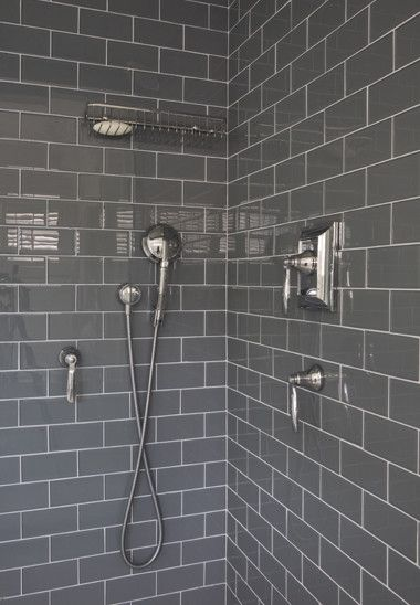 Niche Interiors - bathrooms - shower stall, gray shower tiles, gray subway tile, gray subway tile shower, shower kit, polished nickel shower...