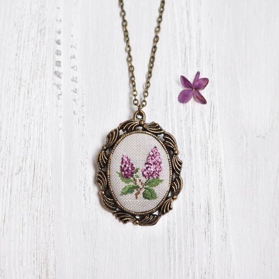 2nd Anniversary Gift For Her. Lilac Necklace. Cotton Wedding Anniversary Gift. Lilac Statement Necklace. Wearable Art Jewelry. Embroidered