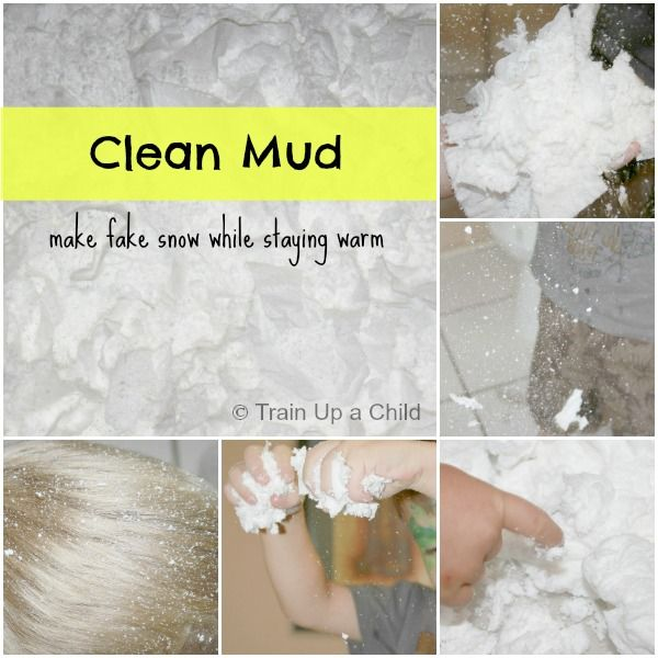 Make CLEAN mud for indoor sensory play.  CLEAN messy fun!
