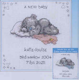 Free Baby Cross Stitch Patterns | GIRAFFE BABY GIRL BIRTH SAMPER KIT