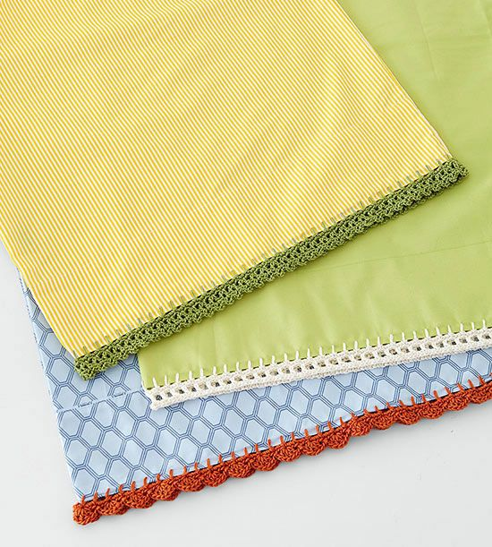 Take your crochet skills over the edge with colorful bands. Add edgings to pillowcases, tea towels, skirts, or anywhere you want crochet flair.