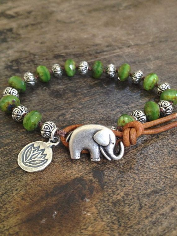 Elephant & Silver Lotus Leather Wrap Bracelet, Bohemian Jewelry
