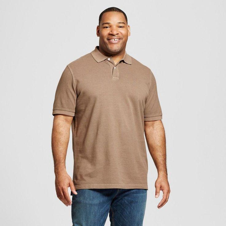 Men's Big & Tall Polo Brown 4XB Tall - Merona