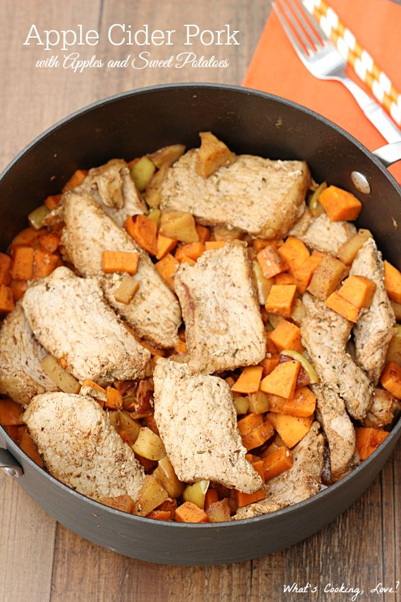 Apple Cider Pork with Apples and Sweet Potatoes. A delicious and flavorful comfort meal that is made in one pan. This fall meal is easy and a perfect weeknight meal! #ad #RealFlavorRealFast