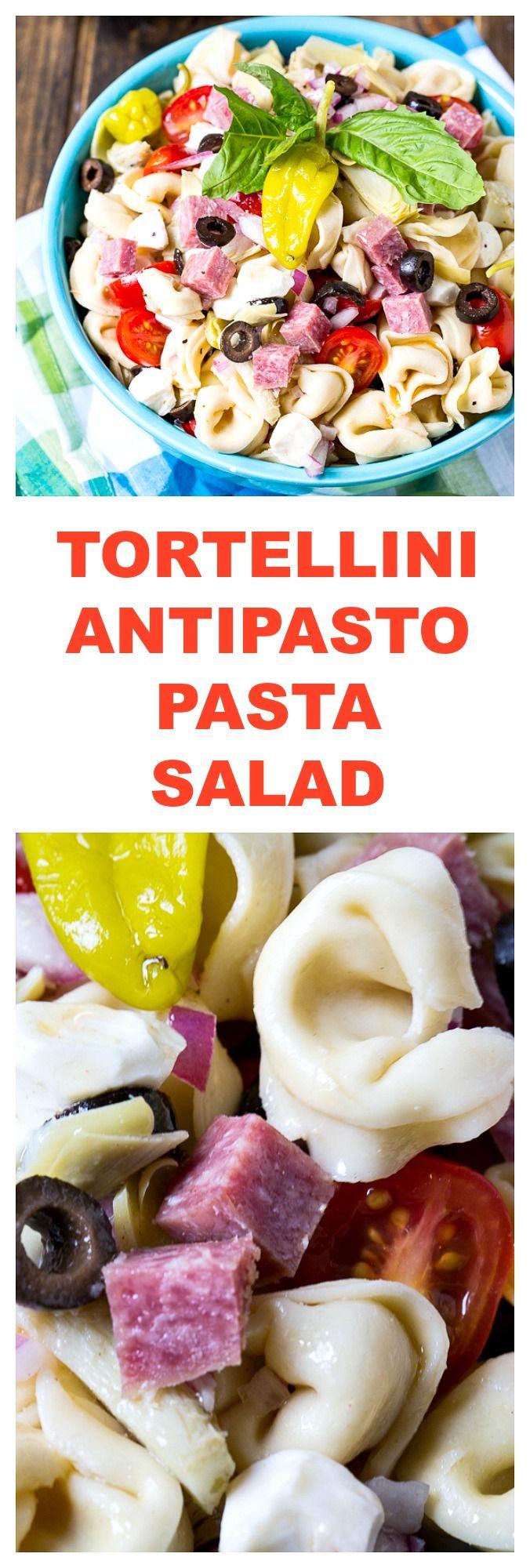 Cheese Tortellini Antipasto Pasta Salad with salami, mozzarella cheese, olives, and artichoke hearts.