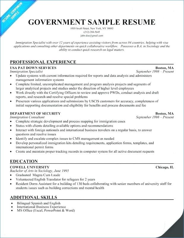 Government Resume Templates Pinterest Template and Resume examples