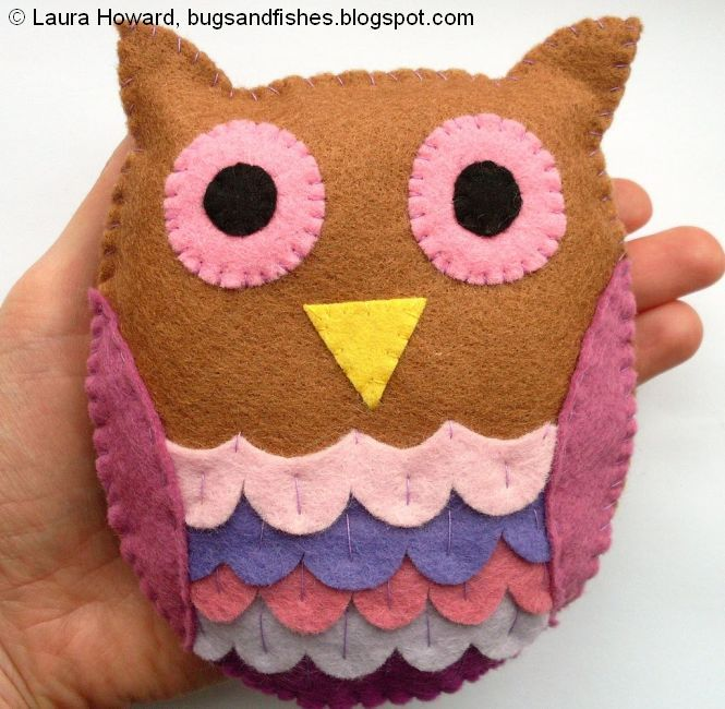 Bugs and Fishes by Lupin: How To: Felt Owl: Felt Crafts, Bugs, Tutorial, Felt Owls, Craft Ideas, Diy