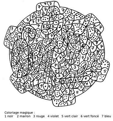 Maternelle: Coloriage magique, tortues
