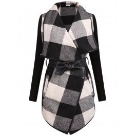 Posh Girl Checker Leather Trimmed Wrap Jacket