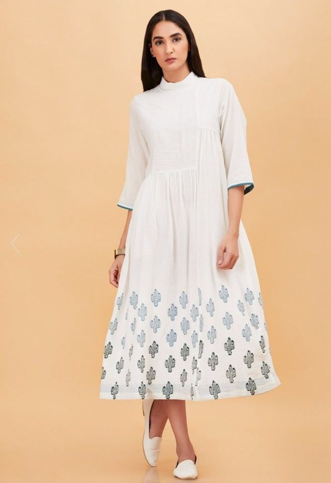 THE YELLOW GYPSY WHITE CACTI HAND BLOCK PRINTED DRESS  8eb0be652