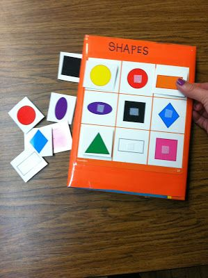 math center/ task box: matching shapes with Bingo game