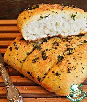 """Рецепт: Постный чесночный хлеб на манке """"Наслаждение"""""""