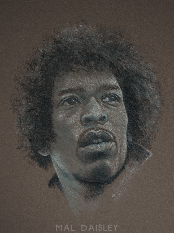 'Jimi', graphite and coloured pencil with chalk pencil highlights on Mi-Teintes Touch paper.