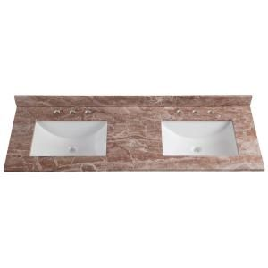 Home Decorators Collection 61 in. W x 22 in. D Stone Effects Double Vanity Top in Cold Fusion with White Basins-SE6122O-CO - The Home Depot