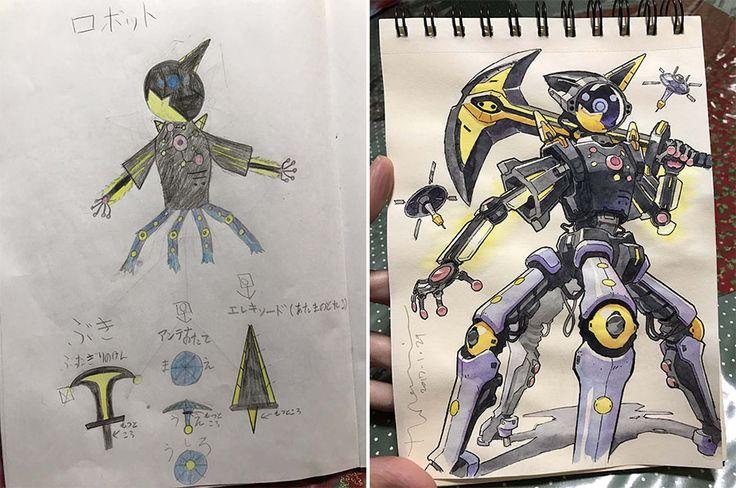 Este artista sigue transformando los dibujos de sus hijos en increíbles personajes de anime