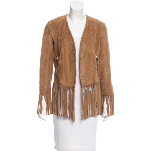 Pre-owned Barbara Bui Fringe Leather Jacket ($445) ❤ liked on Polyvore featuring outerwear, jackets, neutrals, 100 leather jacket, brown fringe jacket, leather jackets, real leather jackets and leather zip jacket