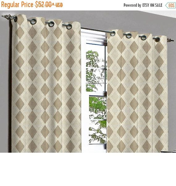 10% THANKSGIVING SALE Brown Rhombus Grommet Unlined Curtain in Textured Jacquard Weave Fabric Decor and Housewares Window Treatment Drapes P