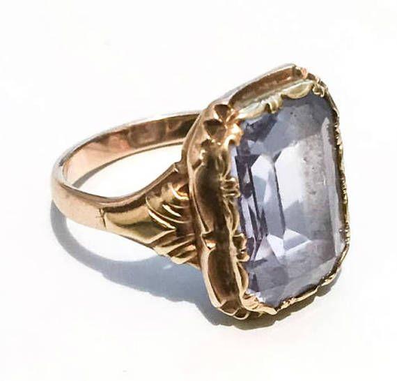 Aquamarine Ring 14K Gold European Gold Standard 585 Vintage