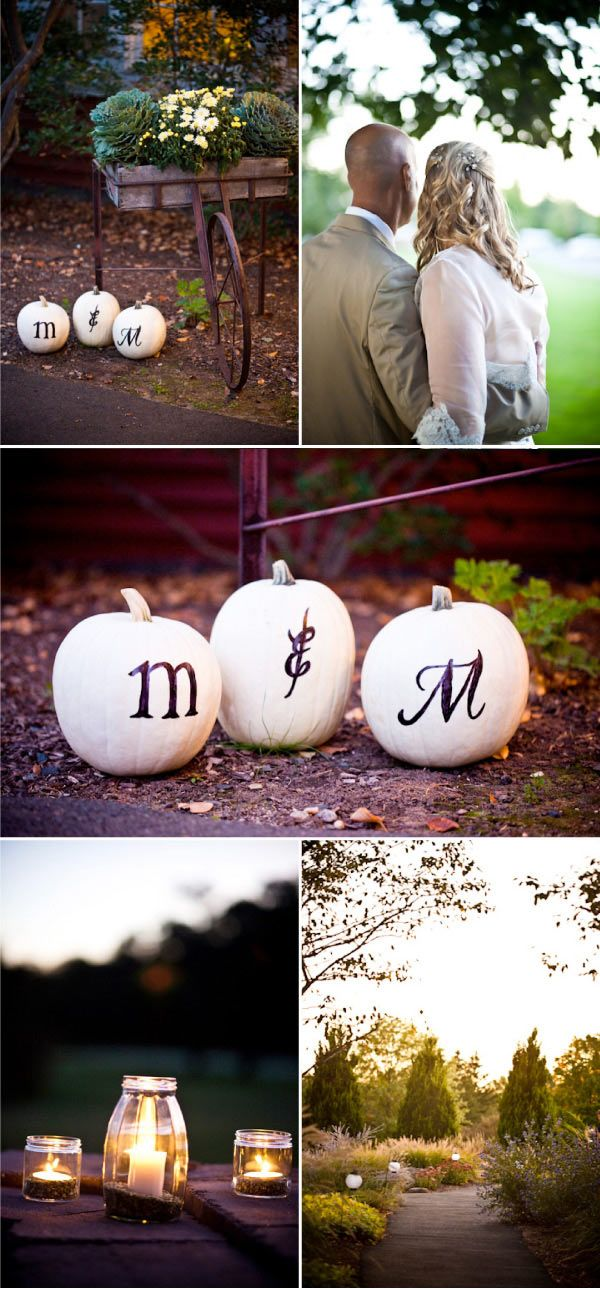 A Fall New England Wedding * Initials of the Bride and Groom on pumpkins and simple mason jars with candles.