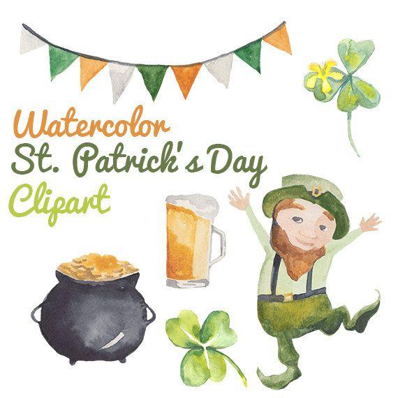 Watercolor Saint Patrick's Day Shamrocks Clip art Clipart Leprechaun Beer Shamrock Clover Digital Download St. Pattie's Day Images