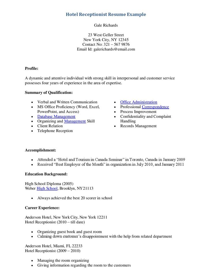 54 best Resume Templates Download images on Pinterest Resume - resume cover letter for receptionist