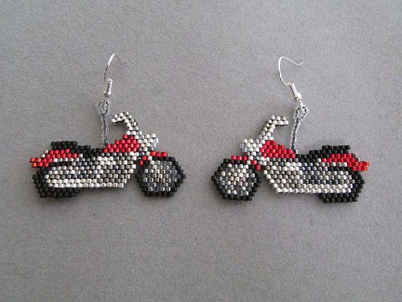 Beaded Purple Bike Earrings