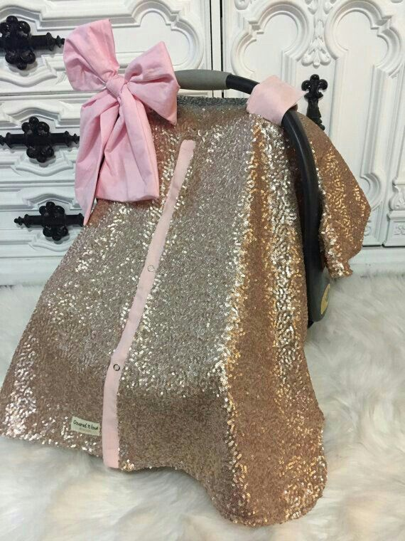 Baby Pink/Gold Sequin Carseat Canopy Cover