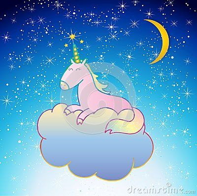 Pink Unicorn Vector illustration isolated on blue night sky with yellow moon and stars. background. Hand drawn cute unicorn sleeping on a blue cloud, good night, sweet dreams.