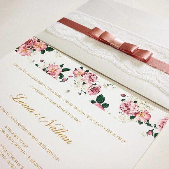 Convite de Casamento - Antique Rosé, convite clássico, convite romântico, convite de casamento, convite rosa casamento, casamento rosa, casamento rosa antigo, casamento floral, convite floral