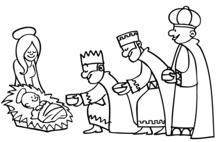Ausmalbild Weihnachten: Die Heiligen Drei Könige überreichen die Gaben kostenlos ausdrucken