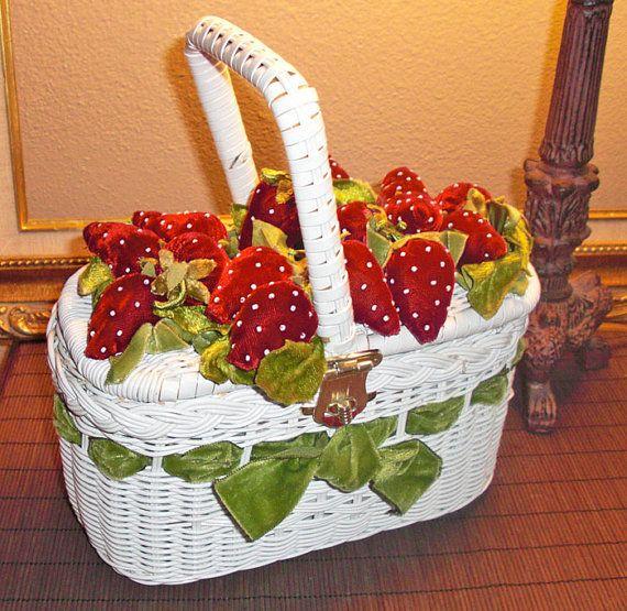 1950s/60s Rare White Wicker Purse/handbag-with Velvet Red Strawberries Green velvet Ribbon