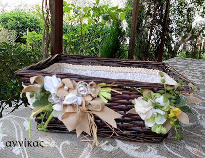 Πασχαλινό καλαθάκι με λουλούδια από ύφασμα..Αννίκας δια χειρός
