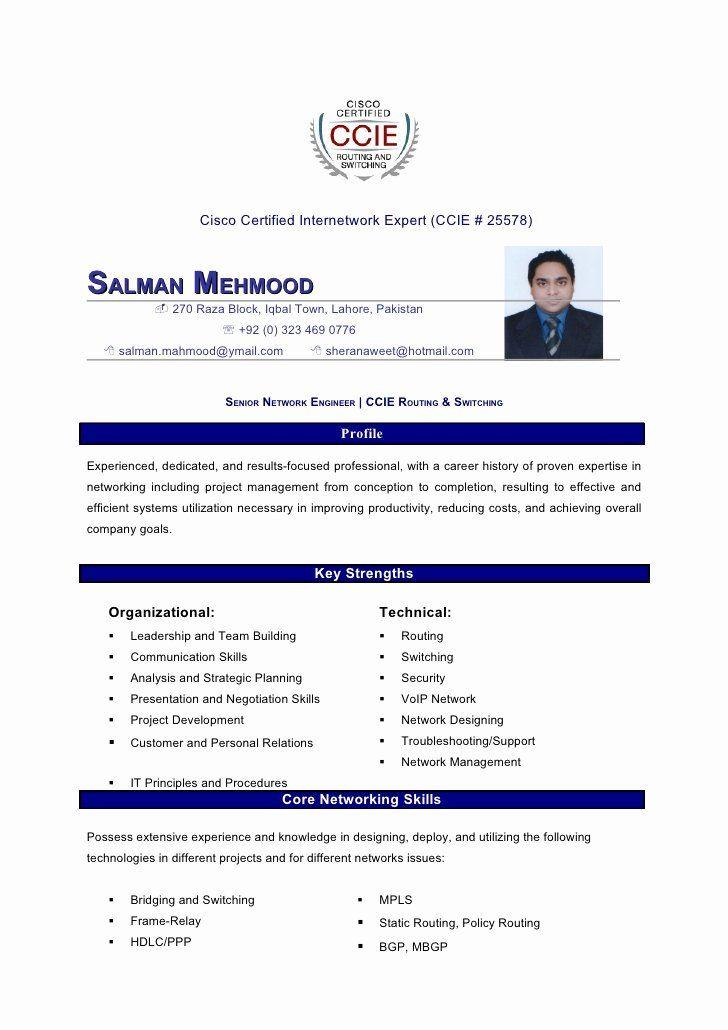 Cisco Network Engineer Resume Best Of Salman Mahmood Resume Network Engineer Resume Tips College Application Resume