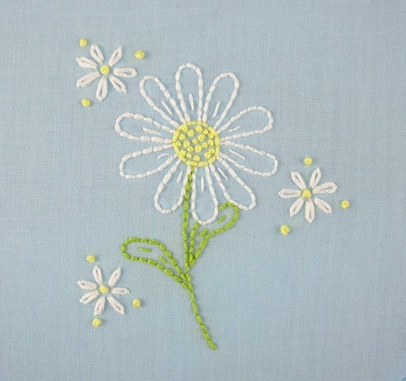 daisy hand embroidery pattern packet daisy door KimberlyOuimet, $4.00