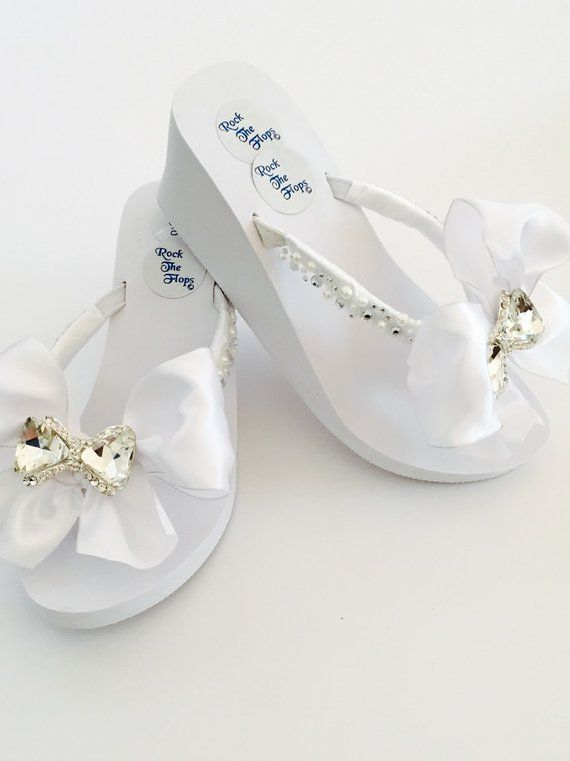 Bridal Flip Flops 3 Wedges White Wedding Flip Flops Wedding Shoes Bridal Shoes Rhinestone Br Bridal Flip Flops Beach Wedding Sandals Wedge Beach Wedding Shoes