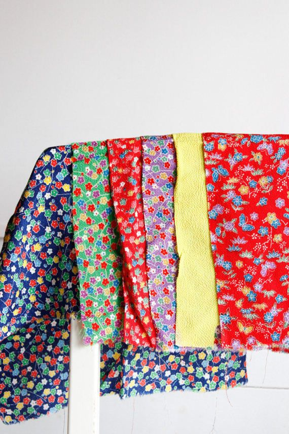 Japanese Floral Textile ScrapsScrap PackJapanese by CJSTonbo