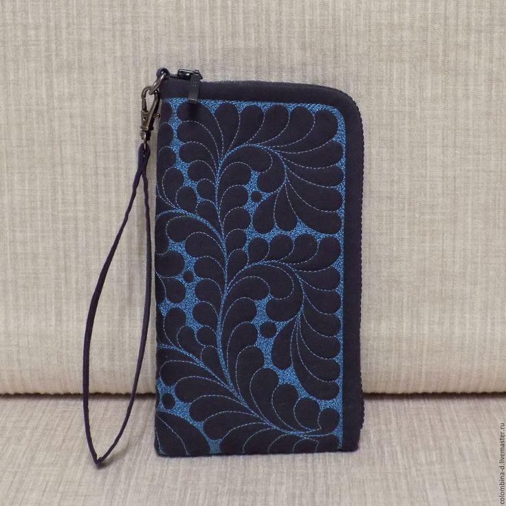 """Купить Чехол для телефона """"Синий"""", текстиль - орнамент, сумка ручной работы, пэчворк, подарок, кошелек"""