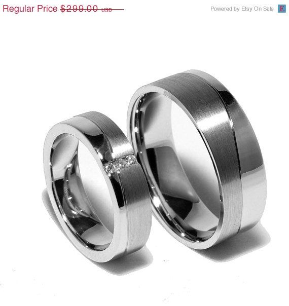 ON SALE Two Matching Sterling Silver Wedding Bands Promise Rings for Him And Her With Diamonds