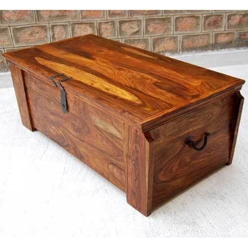 Used Solid Wood Coffee Table: Solid Wood Handmade Storage Trunk Chest Box Coffee Table