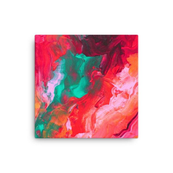 Pink and Teal Canvas Art - Canvas Print - Bright Colors