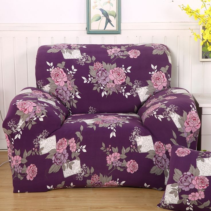Purple flowers print 4 seasons corner sofa cover for living room,multi-size stretch Covers for a sofa,stretch furniture covers #Affiliate