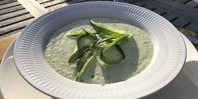Virkelig nem kold agurkesuppe, der smager dejligt friskt og har et herligt pift af mynte.