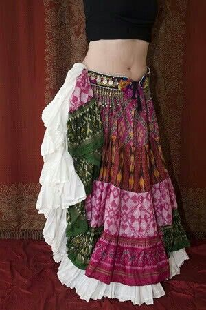 Oooh--Total inspiration   A Kashi silk sari tiered full skirt over a white cotton tiered fill skirt. Pretty.