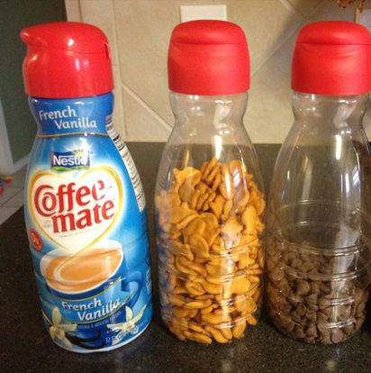 Just remove the wrap and fill with whatever needs stored. From sugar to goldfish this works great. Spout is perfect for pouring and the lids easily screw off! Genius!: Good Ideas, Cars Riding, Kids Snacks, Roads Trips, Creamer Memorial, Great Ideas, Coffee Creamer Bottle, Storage Ideas, Travel Snacks