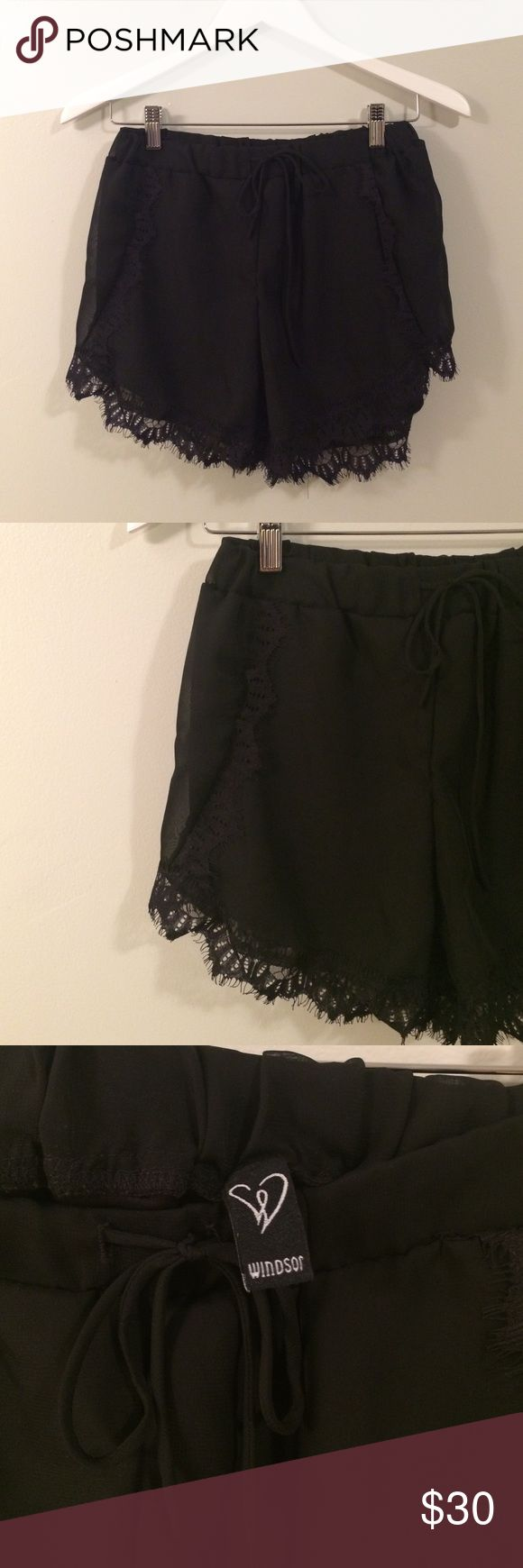 """""""Limited Edition"""" Sexy Black Lace Short Beautiful NWOT tags never worn (to big) Windsor limited edition black lace shorts!! WINDSOR Shorts"""