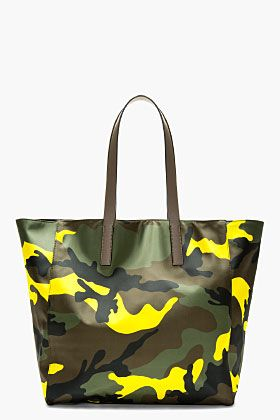 Valentino Yellow & Green Camouflage Tote for men