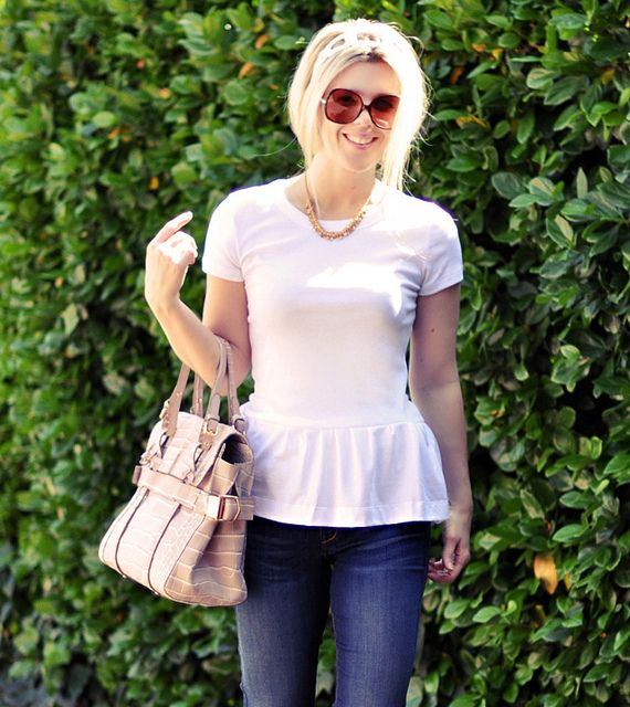 white Peplum T-shirt DIY and jeans by ...love Maegan, via Flickr: Craft, Peplum T Shirt, Diy'S, Diy Peplum, T Shirt Diy, T Shirts, Tshirt, Peplum Top