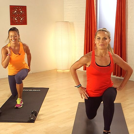 Mix cardio bursts with strength training to amp up the calorie burn. This 10-minute workout from Hayden Panettiere's trainer, Heather Dorak of Pilates Platinum, will work you from head to toe, and all you need is set of five-pound weights. Grab your dumbbells and get ready to work it!
